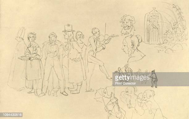 Verschiedene Typen' midlate 19th century 'Various types' Sketches and caricatures of different sorts of people including a bishop a violinist and a...