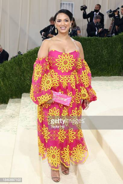 """Versha Sharma attends the 2021 Met Gala benefit """"In America: A Lexicon of Fashion"""" at Metropolitan Museum of Art on September 13, 2021 in New York..."""