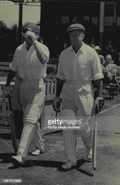 MCC versus NSW Cricket StartsNSW Opening batsmen Jim Burke and Sid Carroll going in to bat against MCC at the cricket Ground today November 14 1958