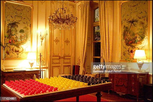 """Vertebra shaped candles by the sulptor Pierre Buisseret - Party at the Belgian ambassador's place for the release of the book """"Belges En France""""..."""
