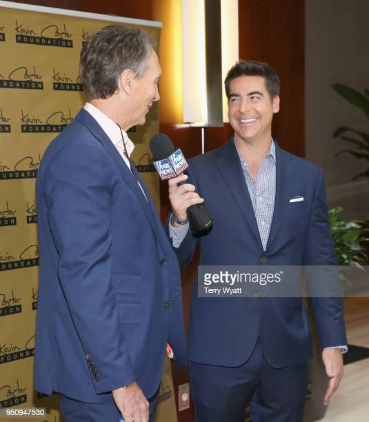 NFL verteran Cris Collinsworth and TV host Jesse Watters attend the 17th annual Waiting for Wishes celebrity dinner at The Palm on April 24 2018 in...