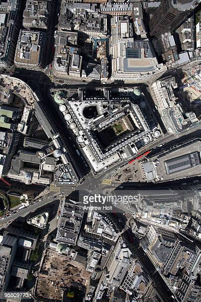 vertical aerial bank of england, city of london - bank of england stock pictures, royalty-free photos & images