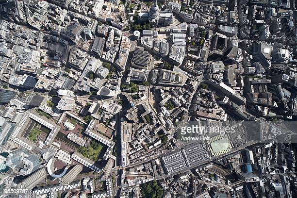 vertical aerial view, city of london - barbican centre london stock pictures, royalty-free photos & images