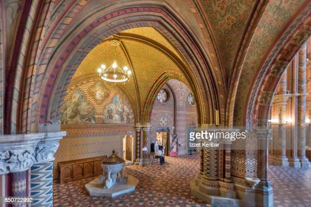 Vertical architectural picture of the interior ofg St Mathias churct at Budapest, Hungary