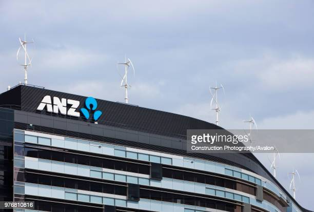 Vertical axis wind turbines on the rooftop of the ANZ bank in Melbourne Australia