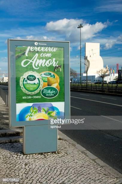 Vertical billboard on the background of Lisbon street