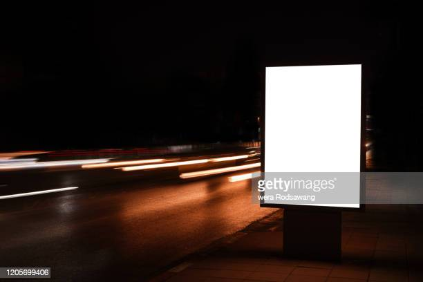vertical blank outdoor lightboxes - poster stock pictures, royalty-free photos & images