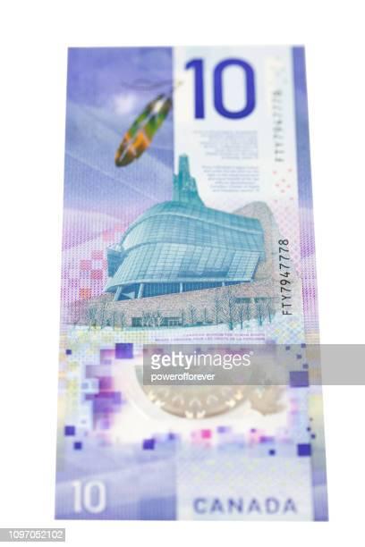 Billet de dix dollars canadien vertical - retour