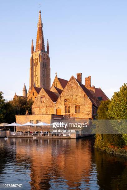vertical, church of our lady bruges, bruges, flanders, belgium - belgium stock pictures, royalty-free photos & images