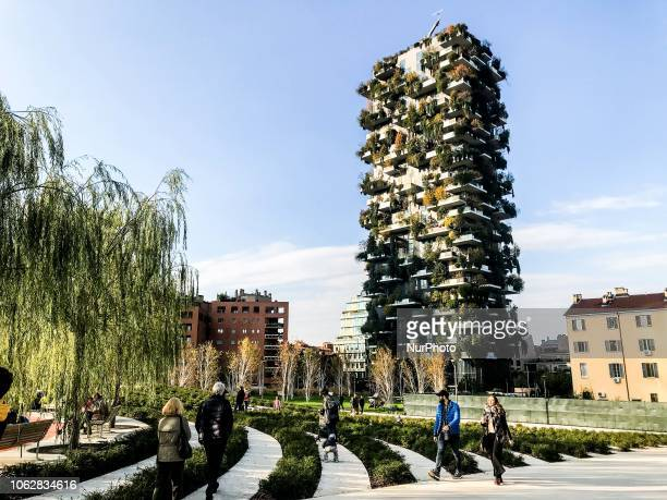 Vertical Forest and biblioteca degli alberi a new place in Gae Aulenti in Milano Italy on November 17 2018