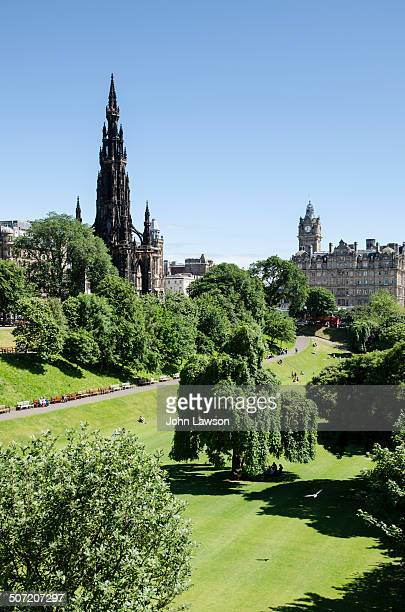 CONTENT] Vertical image of Princes Street Gardens East in Edinburgh Scotland UK This image is looking east towards The Balmoral Hotel and on the left...