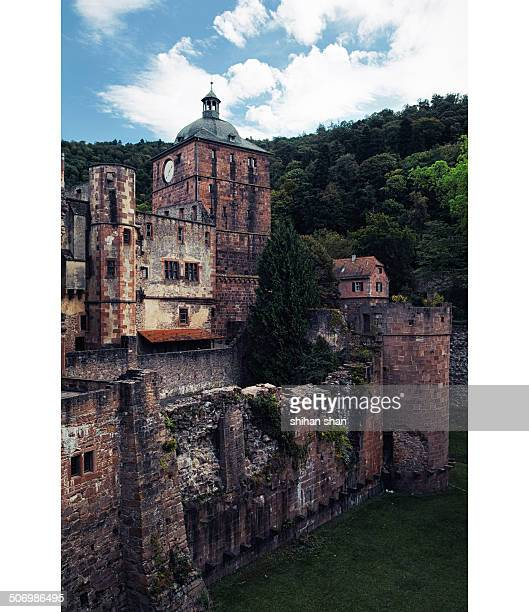 CONTENT] A vertical image of the ruined structures of Heidelberg castle
