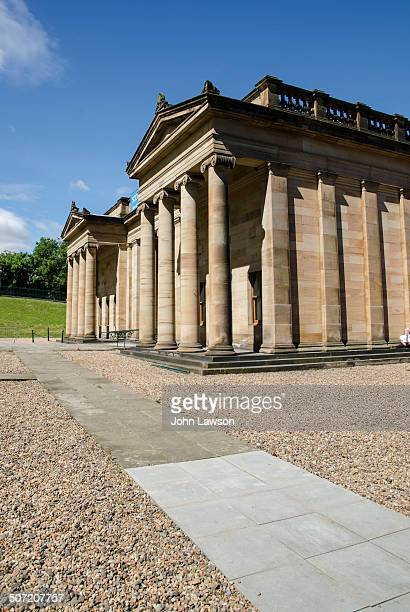 Vertical image of the The Scottish National Gallery in Edinburgh, Scotland UK, set against a blue sky. This gallery is, as its name suggests, the...