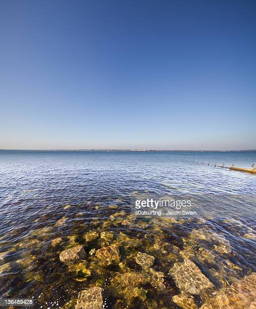 vertical panorama from totland on isle of wight - s0ulsurfing stock pictures, royalty-free photos & images