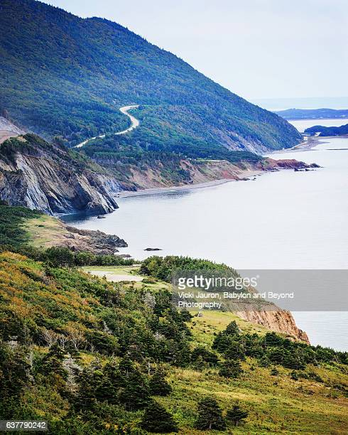 vertical panorama of cabot trail on cape breton island - cape breton island stock pictures, royalty-free photos & images