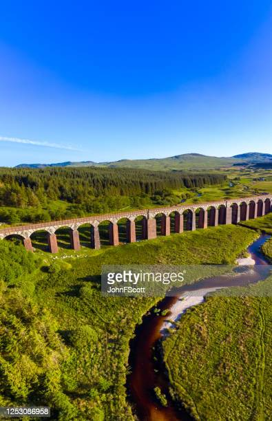 vertical panoramic aerial view of a river flowing towards a disused railway viaduct in rural dumfries and galloway, south west scotland - uncultivated stock pictures, royalty-free photos & images
