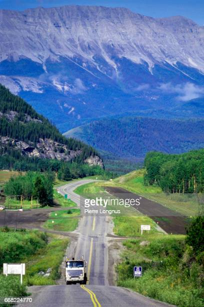 Vertical Shot - View of the Alaska Highway, around mile 422 near Toad River, British Columbia, Canada