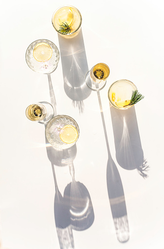 Vertical Silhouettes of Summer Drinks in Crystal - gettyimageskorea
