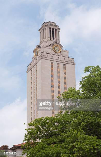 vertical university of texas clock tower in austin - university of texas at austin stock pictures, royalty-free photos & images