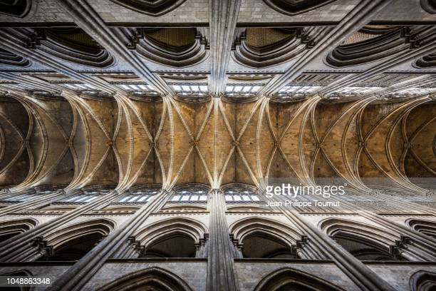 Vertical view of the Ogive Vaulted Ceiling of the Gothic Style Cathedral of Rouen, Cathédrale Notre-Dame de l'Assomption de Rouen, Normandy, France