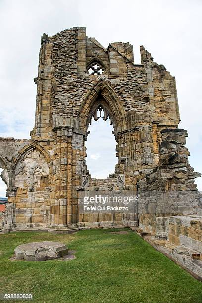 Vertical View on Ruined Whitby Abbey in North Yorkshire England