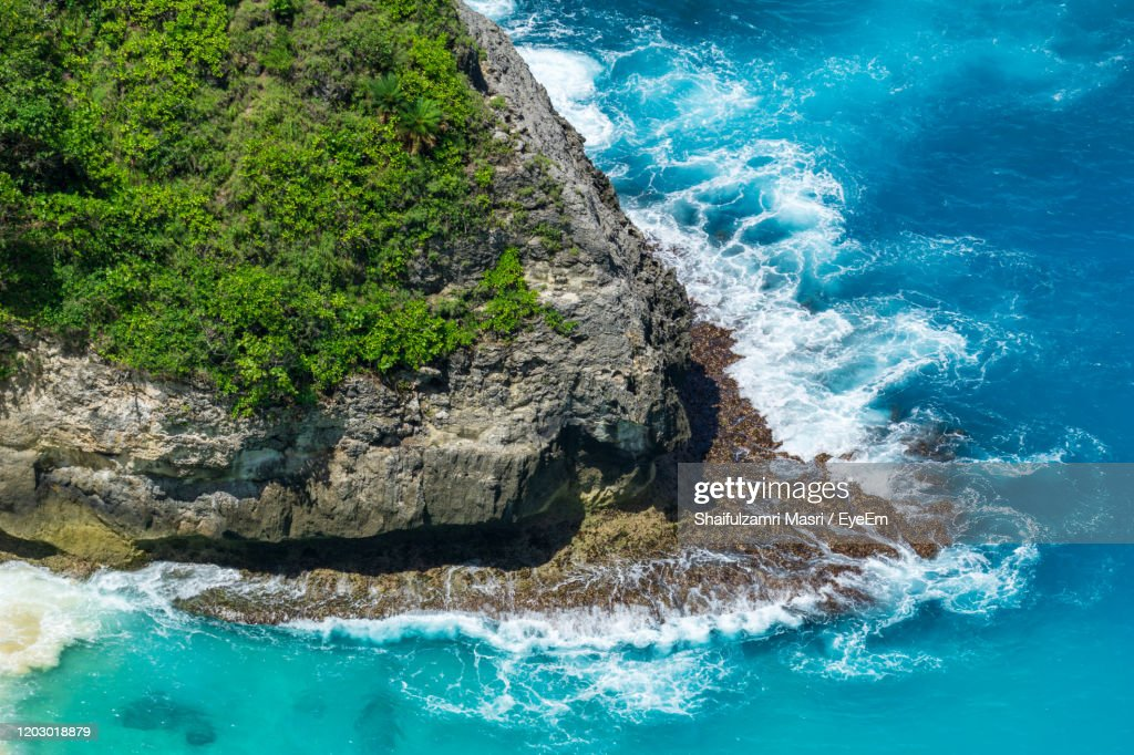 Vertiginous, Swirling Foamy Water Waves At The Ocean Photographed From Above Cliff. : Stock Photo