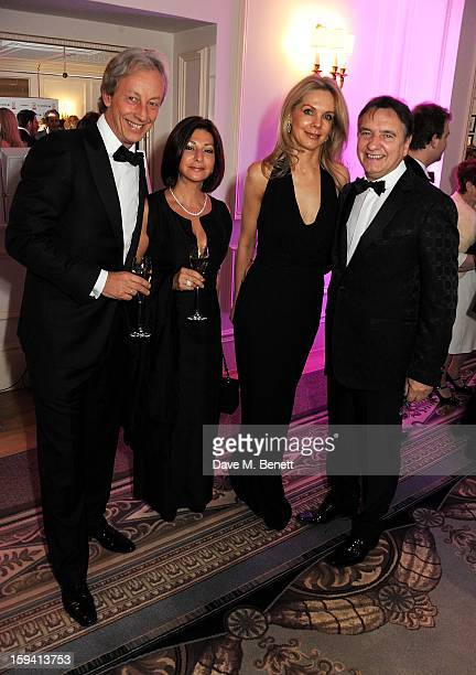 Vertu CEO Perry Oosting wife Yelena Oosting Natalia Traxel and chef Raymond Blanc attend a gala evening celebrating Old Russian New Year's Eve in aid...
