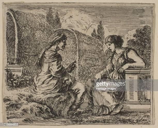 Vertumnus and Pomona, from 'Game of Mythology' , 1644. Artist Stefano della Bella.