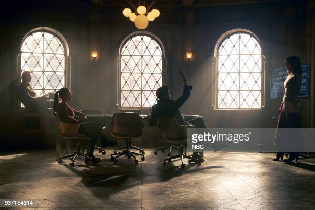 "Verum Nocet"" Episode 210 -- Pictured: Clive Standen as Bryan Mills, Jessica Camacho as Santana, Adam Goldberg as Kilroy, Jennifer Beals as Christina..."