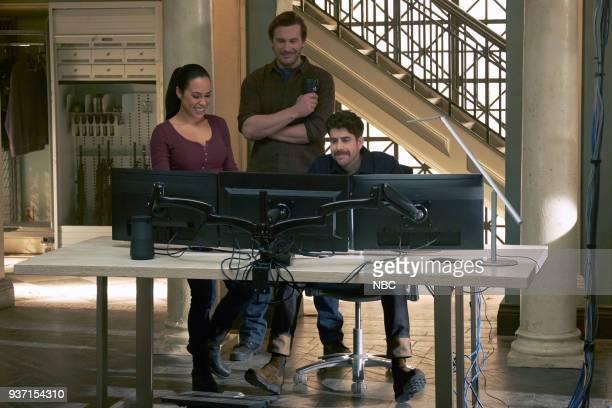 "Verum Nocet"" Episode 210 -- Pictured: Jessica Camacho as Santana, Clive Standen as Bryan Mills, Adam Goldberg as Kilroy --"