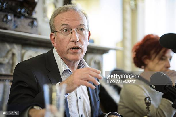 Verviers's Mayor Marc Elsen gives a press conference at the city's town hall on January 16 a day after Belgian police shot dead two suspected...