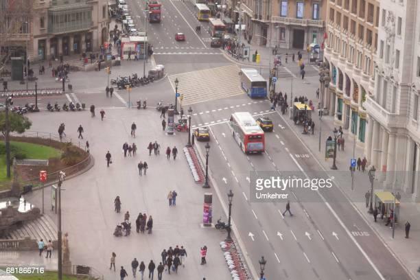 Very busy cross road in Barcelona