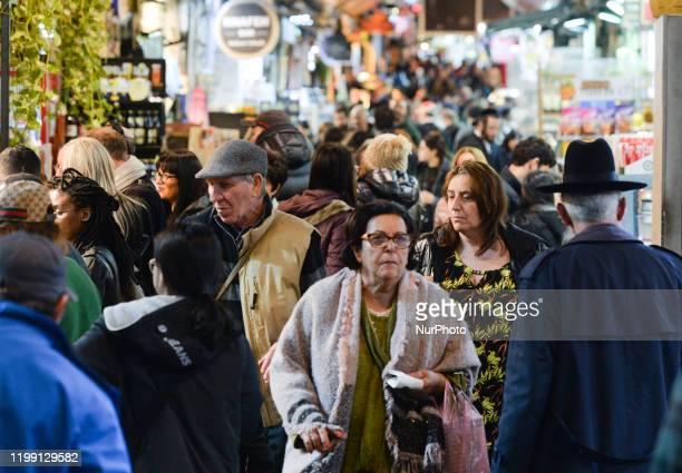 Very busy Jerusalem's Mahane Yehuda Market. On Thursday, February 6 in Jerusalem, Israel.