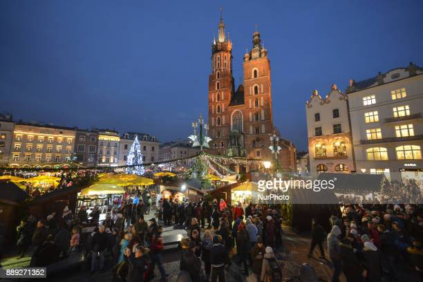 A very busy Krakow's Christmas Market in the Main Square with thousands of locals and visitors from abroad On Saturday December 9 in Krakow Poland