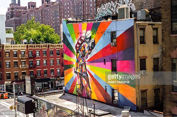 Very colorful billboard against a vintage backdrop in Hell's Kitchen, NYC Leica IIIg, 28mm summaron