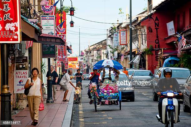 very colorful street scene of china town in malacca, malaysia - melaka state stock pictures, royalty-free photos & images
