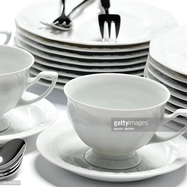 Sehr elegante china dessert Tischgeschirr: Geschirr, Tassen, Löffel, Gabel