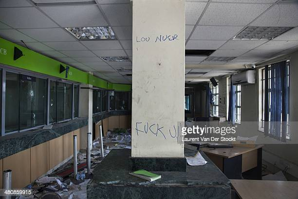 JANUARY 30 2014 Very few inhabitants stayed in the plundered and destroyed center of BorThe plundered Kenya Commercial Bank Photograph Laurent Van...