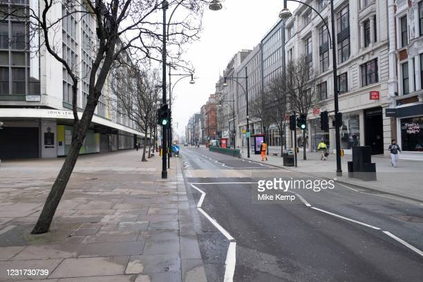 Very few people out along Oxford Street as the national coronavirus lockdown three continues and all non-essential shops have to remain closed on 3rd...