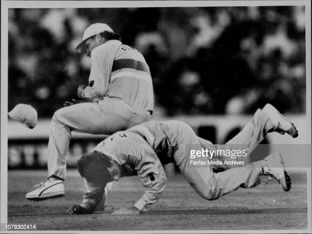 A very happy Craig McDermott after Haynes was caught behindMarsh and Jones Collide Concussing Marsh went off they were going for a catch off Malcolm...
