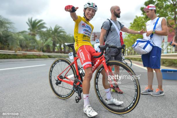 Very happy Kevin Rivera Serran from Androni Sidermec Bottecchia team at the end of the fifth and final stage after he wins the General Classement of...