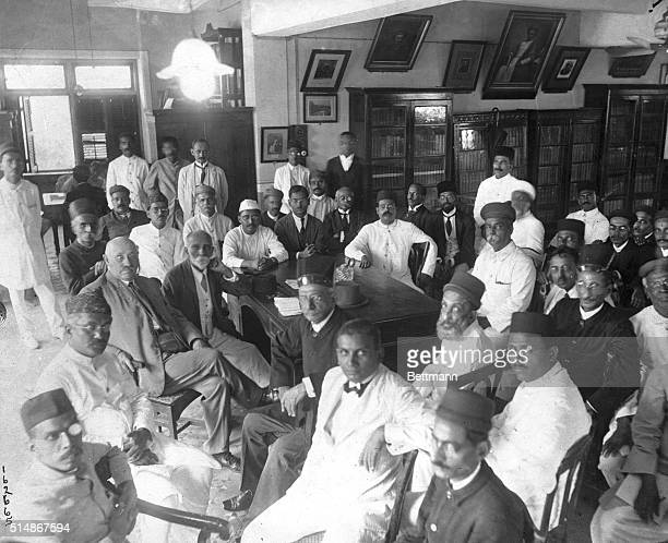 A very interesting photo of a gathering of the Nationalist Party headed by Mahatma Gandhi who has been taken into custody by the British troops in...