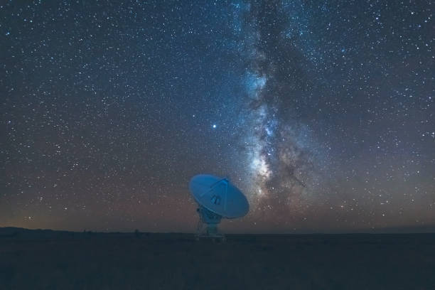 Very Large Array satellite dish under the Milky Way in New Mexico