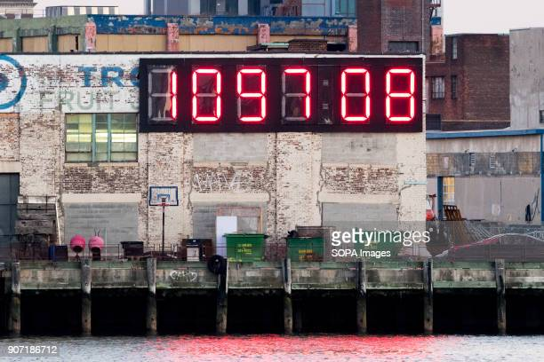 Very large digital countdown clock showing the number of days and hours left until the next US presidential inauguration day on January 20 2021 The...
