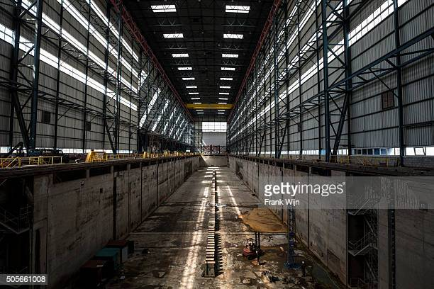 Very large empty covered dry dock
