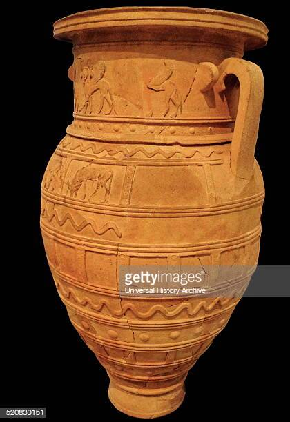 Very large Storage Jar known as a Pithos Crete 700600 BC Often decorated with Sphinx bull snake or geometric patterns