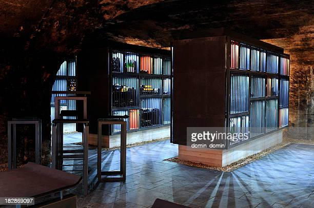 Very modern wine cellar with illuminated shelves, security bars