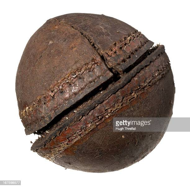 very old decayed cricket ball - hugh threlfall stock pictures, royalty-free photos & images