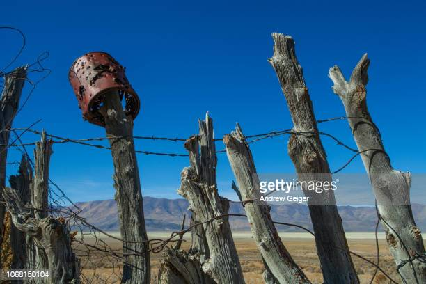 very old wooden ranch fence made from logs and barbed wire with rusty metal tin can. - nevada photos et images de collection