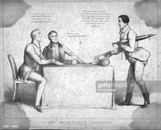 Very Pertinent Question.', 1830. Three men discuss politics. The man on the right says: 'I have just dropped in to ask you a little question. I want...